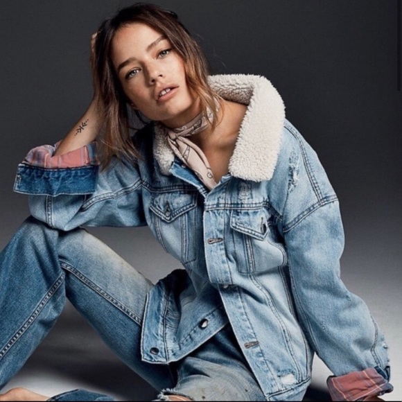 Free People Faux Fur Trimmed Denim Jacket